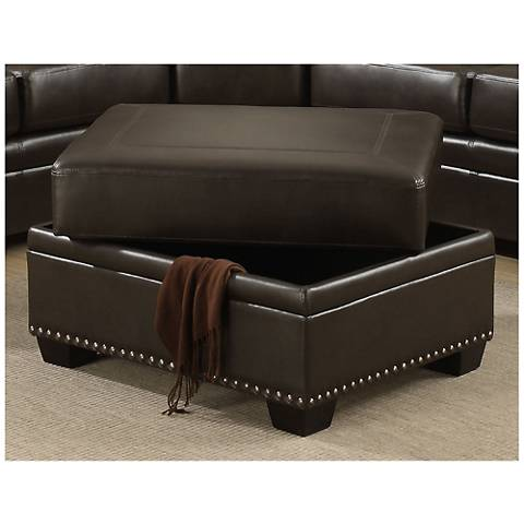 Louis Brown Leather-Like Fabric Storage Ottoman