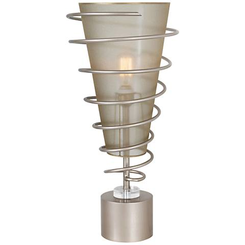Van Teal Jazz Up Autumn Wood Silver Metal Uplight Table Lamp