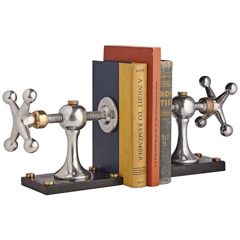 """Winlass 16"""" Wide Cast Aluminum and Brass Bookends Set"""