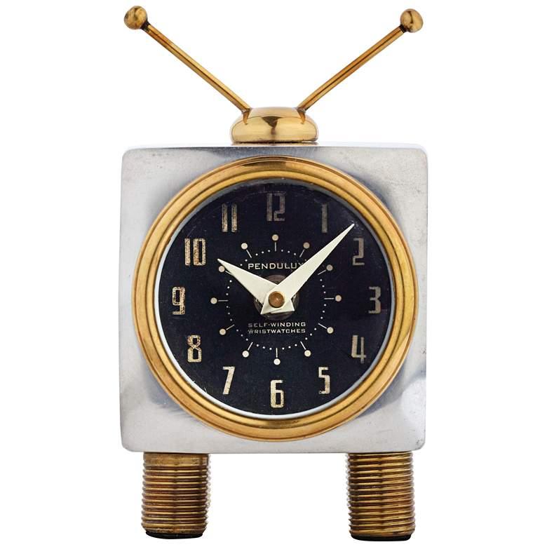 "Teevee Aluminum and Brass 6"" High Table Clock"