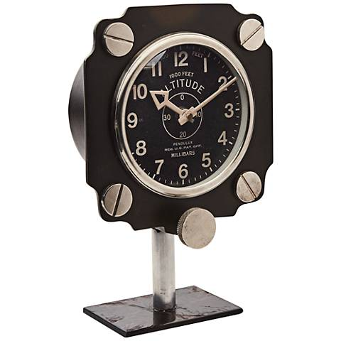 "Altimeter Mante Painted Aluminum 10"" High Table Clock"