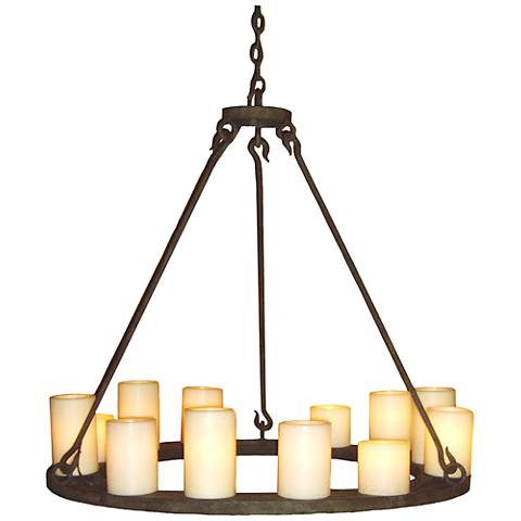 "Laura Lee Mallorca 36"" Wide Salmon Rust 12-Light Chandelier"