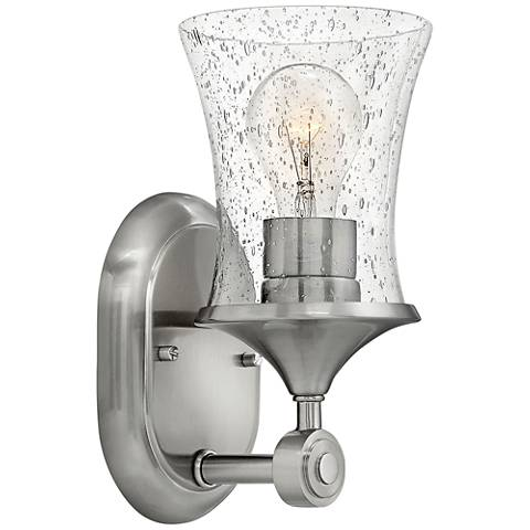 """Thistledown 10 1/2"""" Brushed Nickel-Seedy Glass Wall Sconce"""