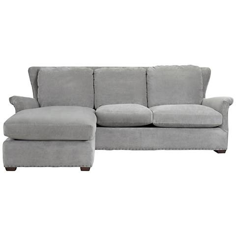 Haven Gray Cloud Velvet Sofa Chaise with Ottoman