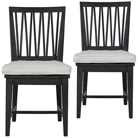 Abilene Black Denim Wood Side Chairs Set of 2