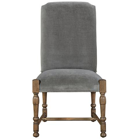 Brussels Gray Cloud Velvet Side Chair