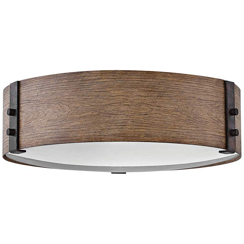 """Hinkley Sawyer 15""""W Sequoia Faux Wood Outdoor Ceiling Light"""