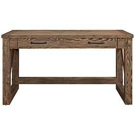 Avondale Brushed Weathered Oak 1 Drawer Wood Writing Desk