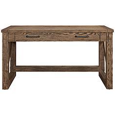 "Avondale 58"" Wide Weathered Oak 1-Drawer Wood Writing Desk"