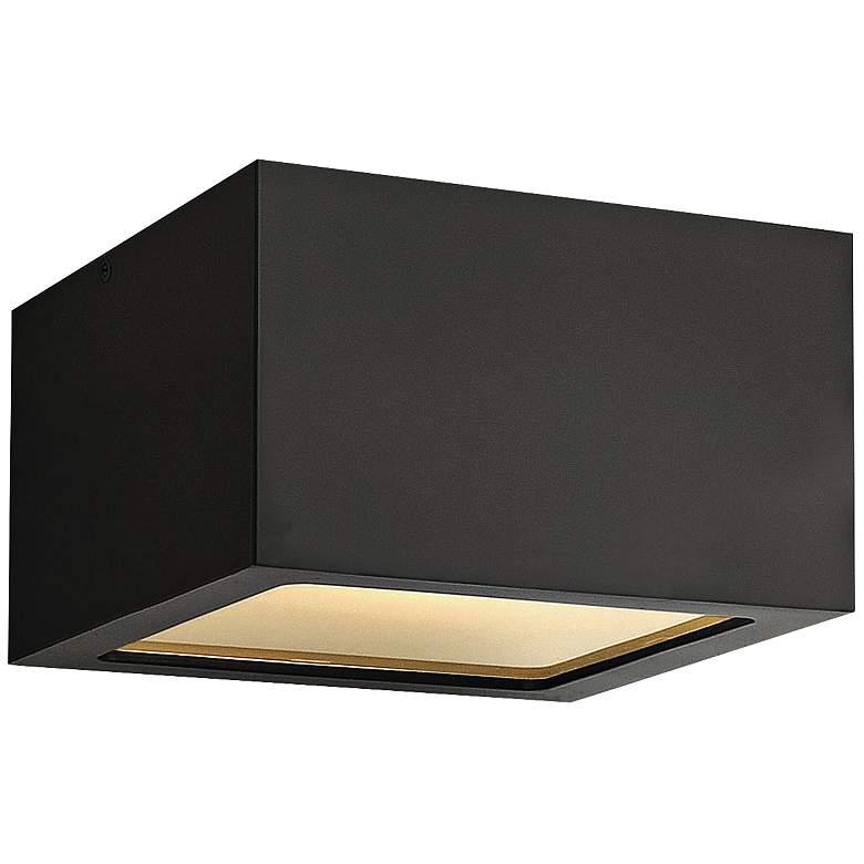 """Hinkley Kube 6"""" Wide Satin Black LED Outdoor Ceiling Light"""
