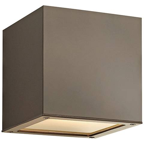 "Hinkley Kube 6"" High Bronze LED Outdoor Wall Light"