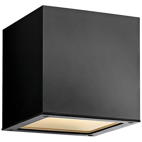 "Hinkley Kube 6"" High Satin Black LED Outdoor Wall Light"