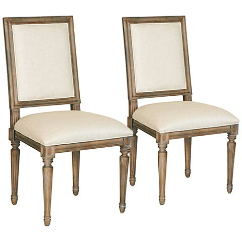 Bergere Sand Fabric Brownstone Dining Chairs Set of 2