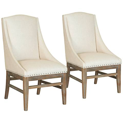 Urban Artisan Sand Fabric and Brownstone Armchairs Set of 2