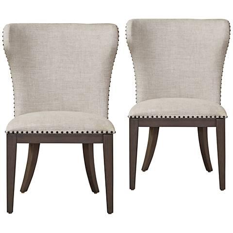 Baldwin Stone Belgian Linen Fabric Dining Chairs Set of 2