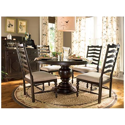 Paula Deen Home Tobacco Wood Round Pedestal Dining Table