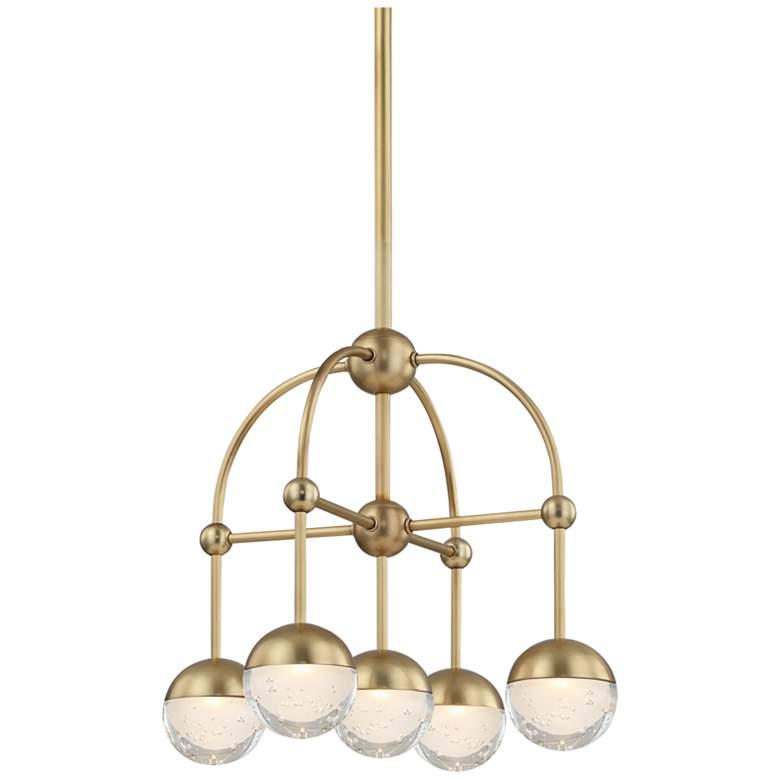 """Hudson Valley Boca 15 3/4"""" Wide Aged Brass 5-LED Chandelier"""