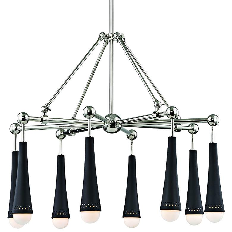 "Tupelo 29"" Wide Polished Nickel and Black 8-LED Chandelier"