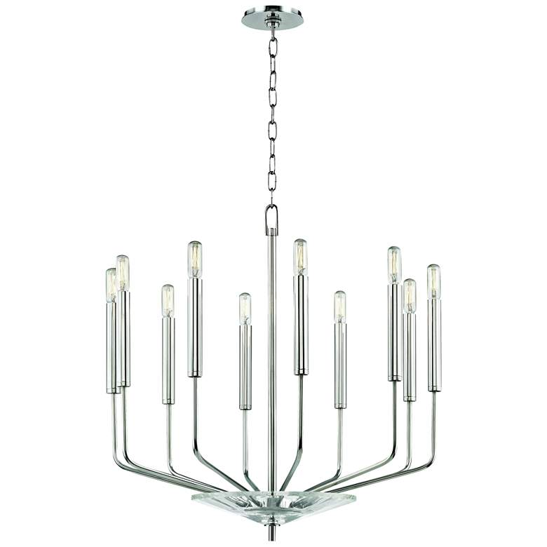 "Gideon 24 1/4"" Wide Polished Nickel 10-Light Chandelier"