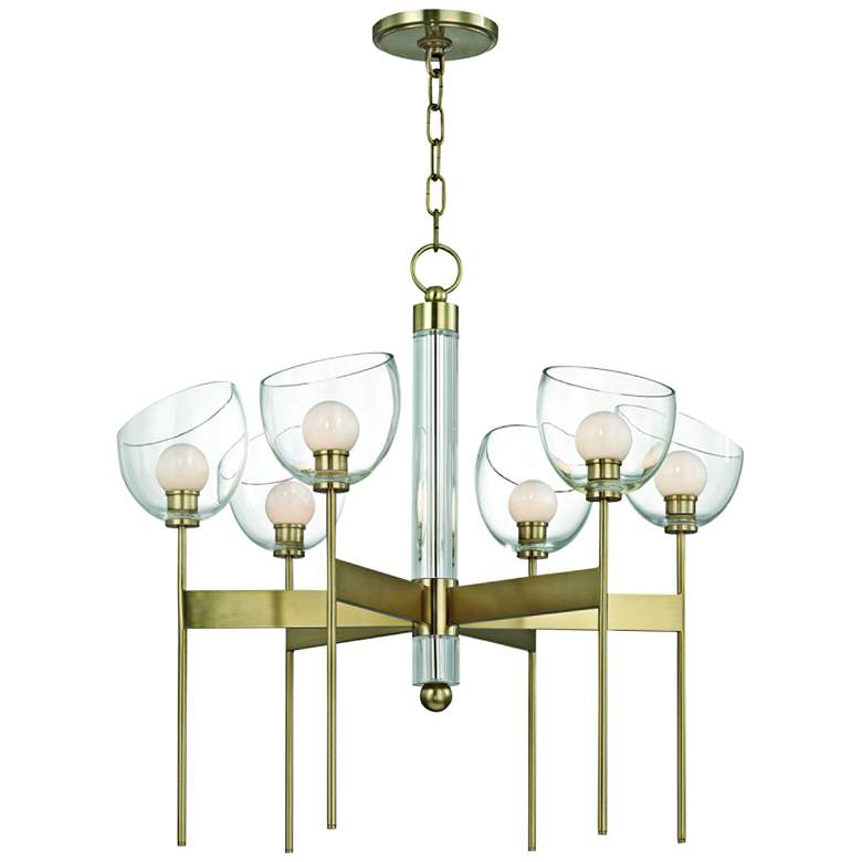 "Hudson Valley Davis 26 1/2"" Wide Aged Brass 6-LED Chandelier"