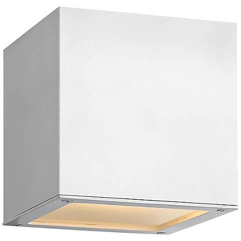 """Hinkley Kube 6"""" High Satin White 2-LED Outdoor Wall Light"""