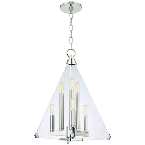 "Hudson Valley Triad 18"" Wide Polished Nickel 6-Light Pendant"