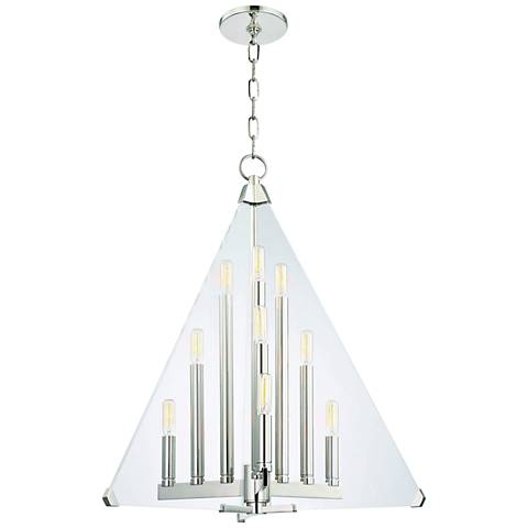 "Hudson Valley Triad 24"" Wide Polished Nickel 9-Light Pendant"