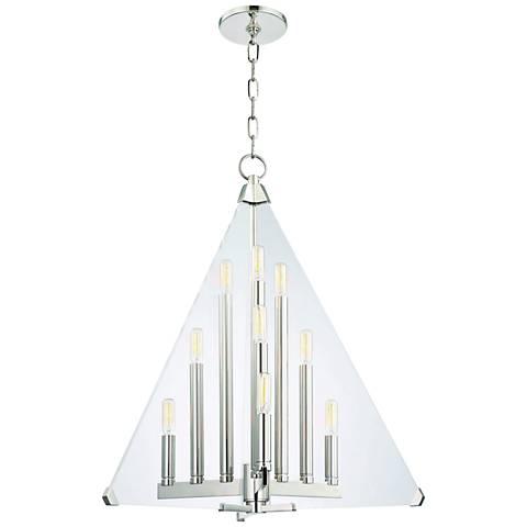 "Hudson Valley Triad 24"" Wide Polished Nickel 9-Light Pendant"