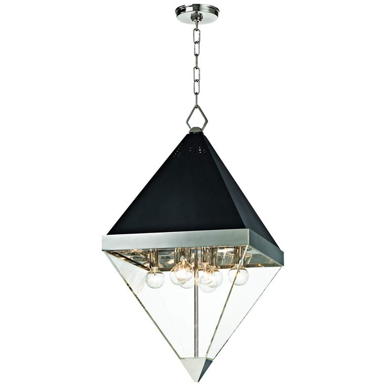 """Coltrane 15"""" Wide Nickel and Black Textured 8-Light Pendant"""