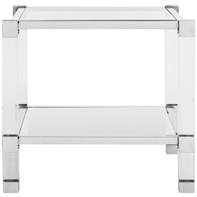 """Angie 24"""" Wide Chrome and Clear Glass Square End Table"""