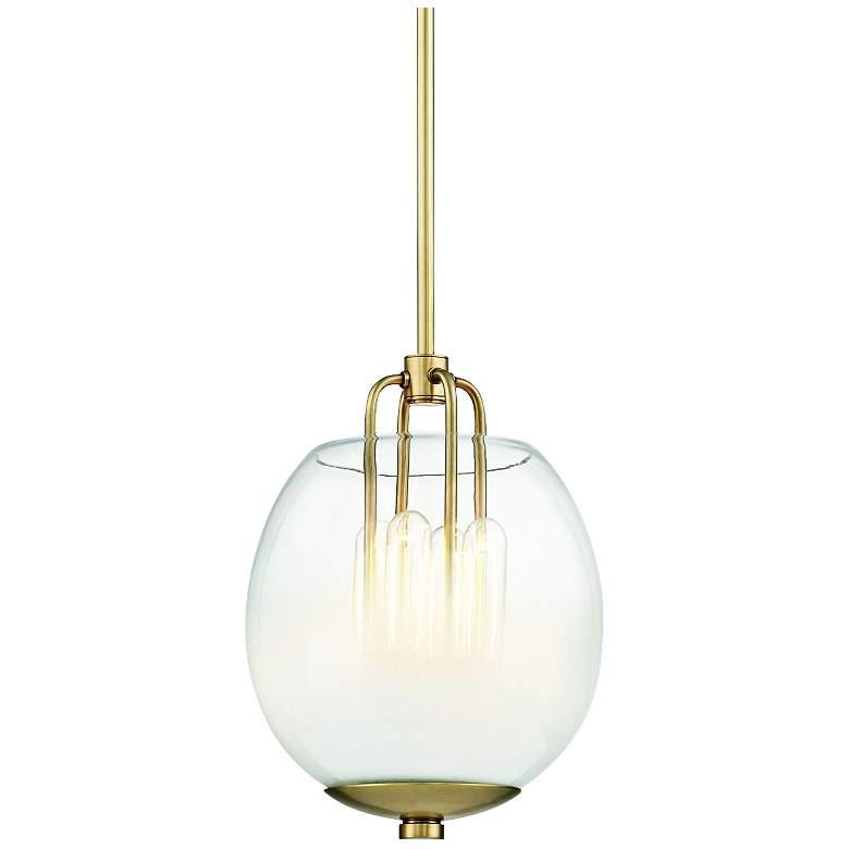 "Hudson Valley Sawyer 9 1/2""W Aged Brass 4-Light Mini Pendant"