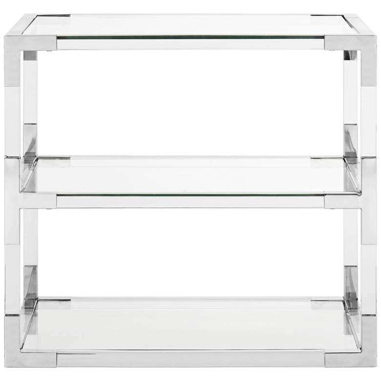 """Louisa 28"""" Wide Chrome and Clear Glass Modern End Table"""