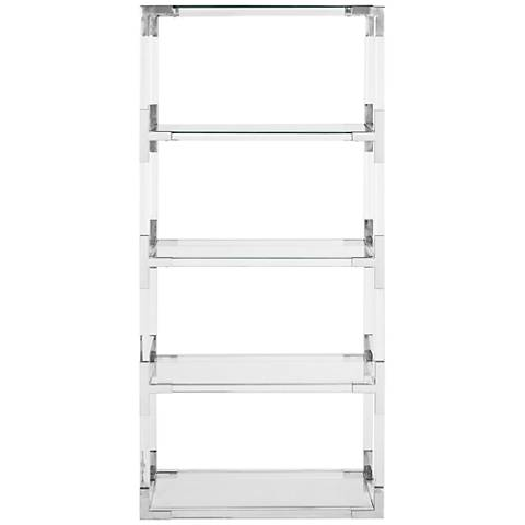 Couture Hayley Chrome Steel and Clear Glass Bookshelf
