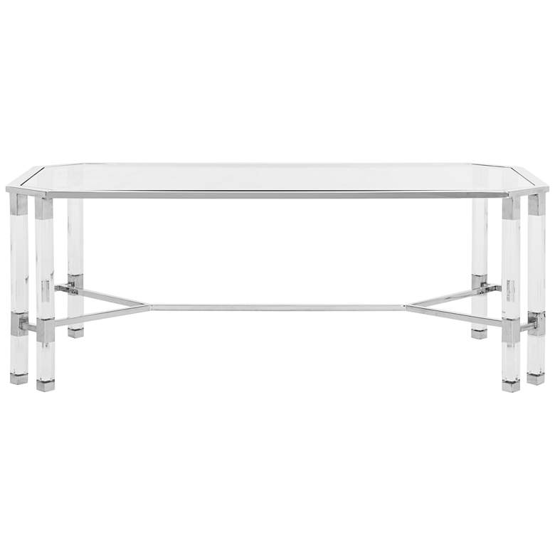 """Chandon 48"""" Wide Chrome Steel and Clear Glass Coffee Table"""