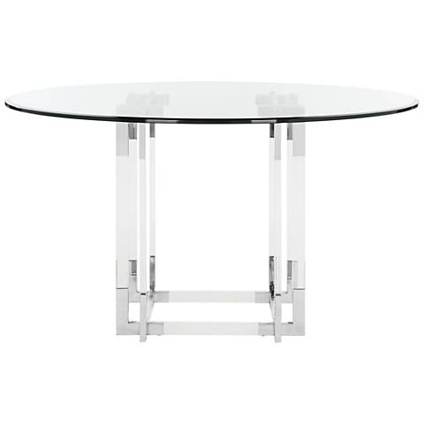 """Couture Koryn 54"""" Wide Chrome and Clear Glass Dining Table"""
