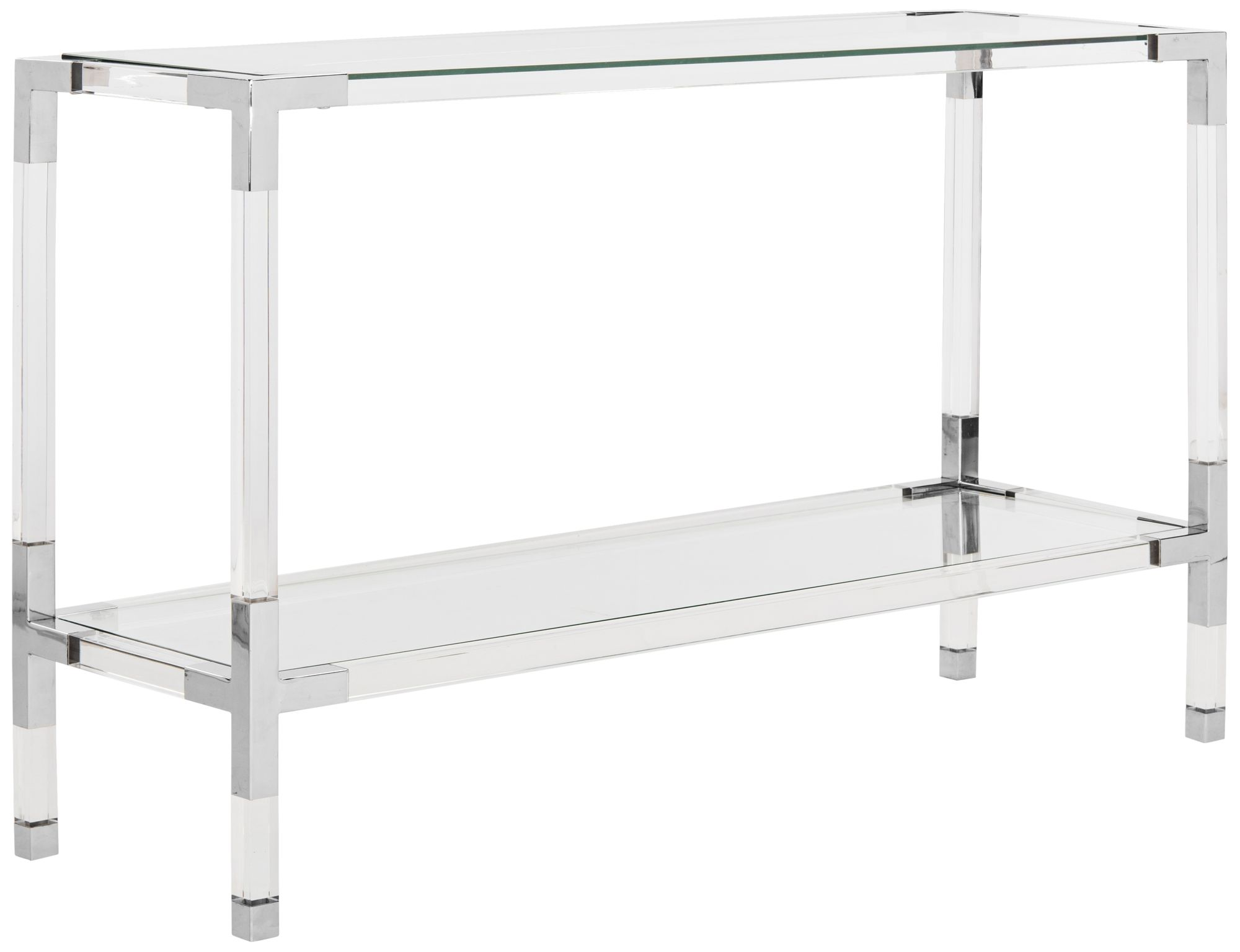 Couture Arverne Chrome Steel and Clear Glass Console Table 21J14