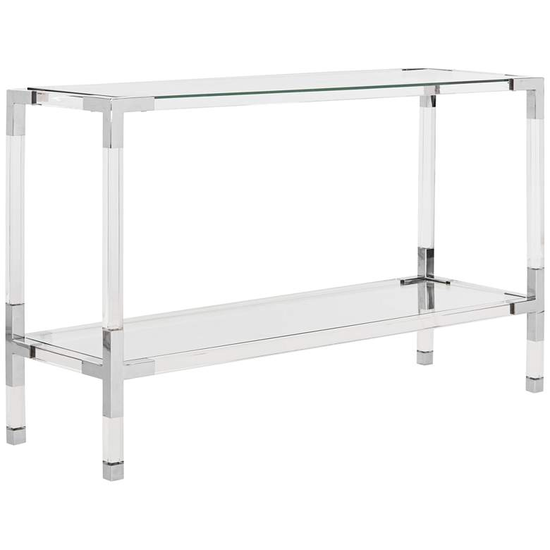 """Arverne 47"""" Wide Chrome and Clear Glass Modern Console Table"""