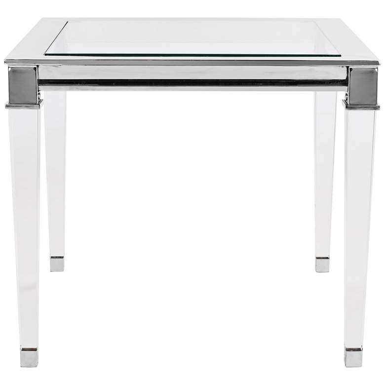 "Charleston 25"" Wide Chrome and Clear Glass Modern End Table"