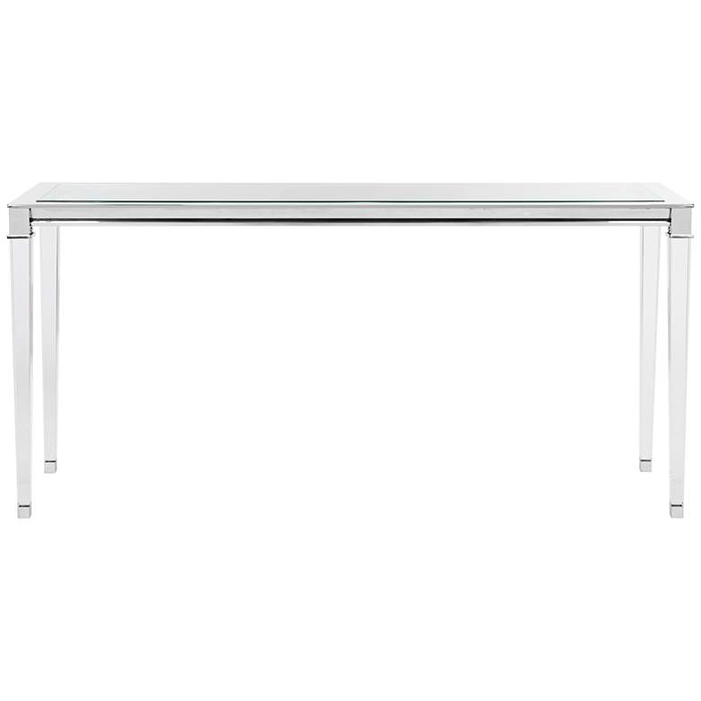 """Charleston 66"""" Wide Chrome and Clear Glass Console"""
