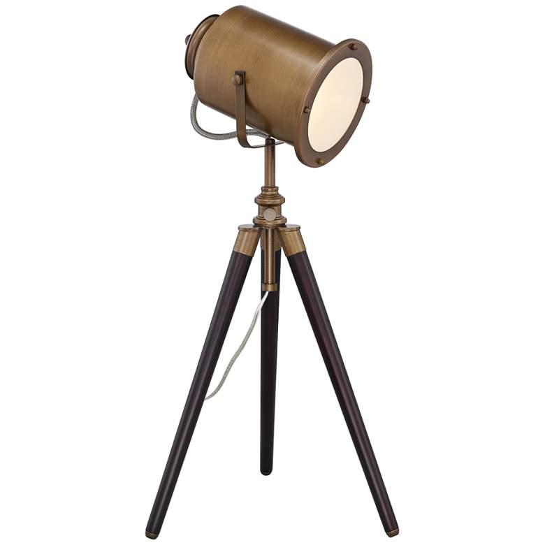 Lite Source Saga Brass Old Hollywood Adjustable Tripod Desk Lamp
