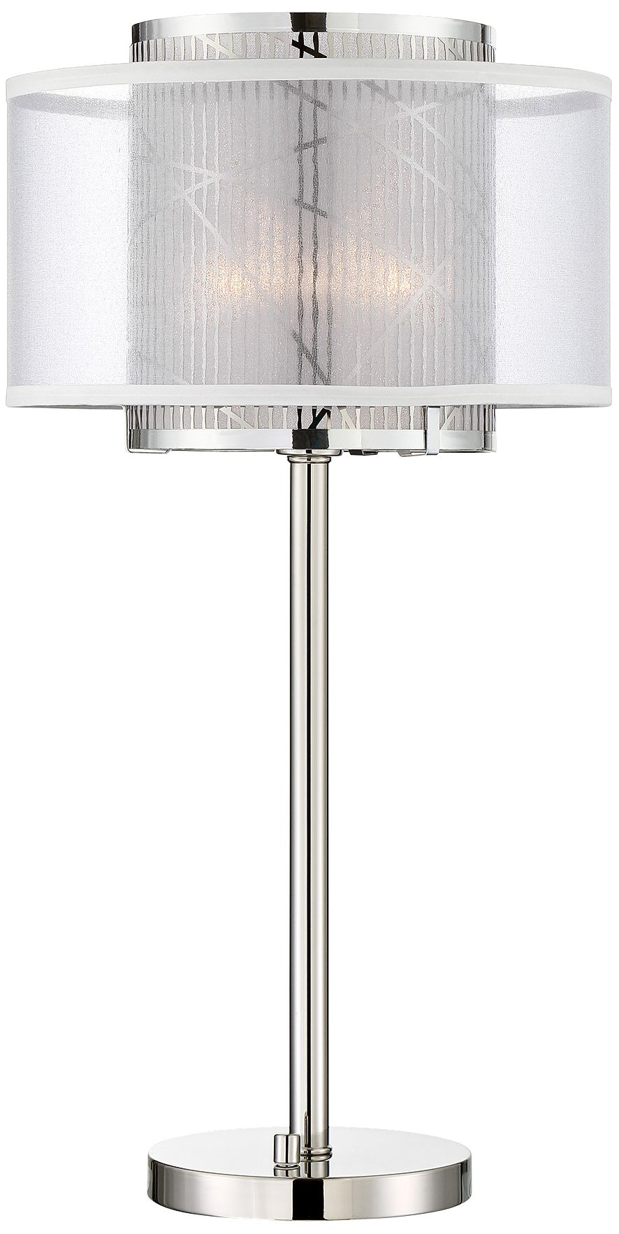 Ordinaire Lite Source Lacole Brushed Nickel Double Shade Table Lamp