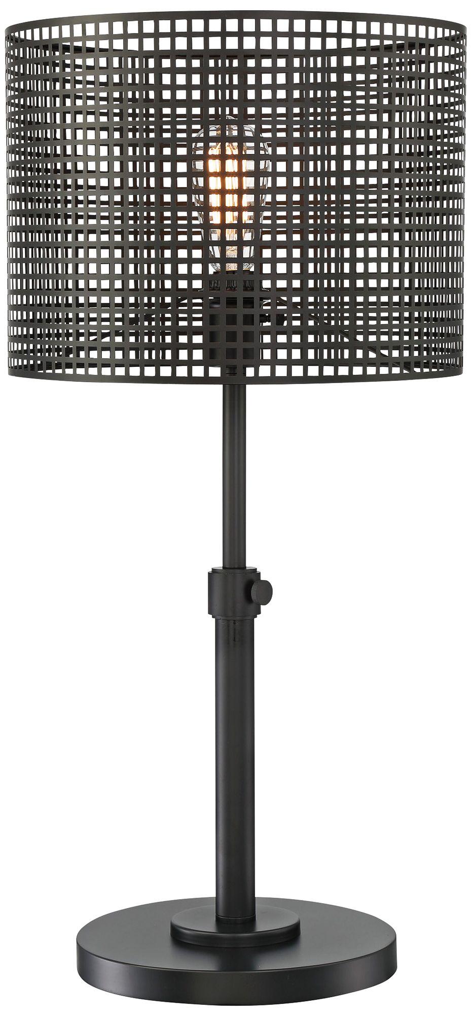 Lite Source Hamilton Black Metal Grid 1 Light Table Lamp