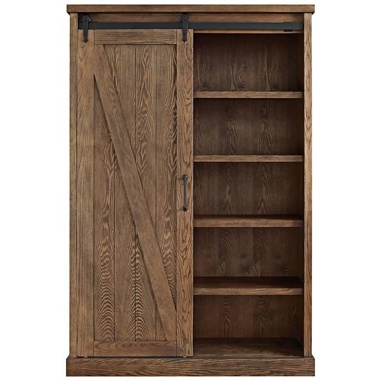 "Avondale 72"" High Weathered Oak 5-Shelf Wood Bookcase"