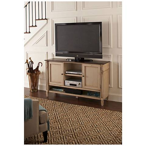 Baldwin Antique Powder White 2-Door Wood Deluxe TV Stand