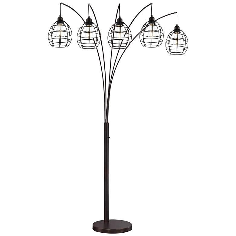 Lite Source Kaden Copper Bronze Cage 5-Light Arc Floor Lamp