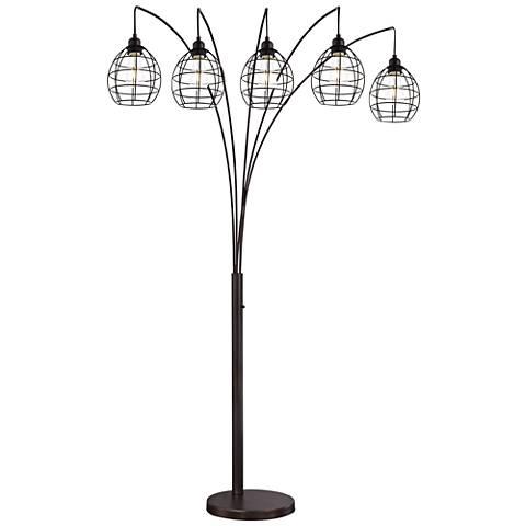 Lite Source Kaden Copper Bronze Cage 5-Light Arc Floor Lamp - #21J78 ...