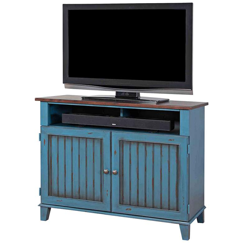 "Ellington 41 1/2"" Wide Vibrant Blue 2-Door Wood TV Stand"