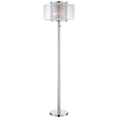 Lite Source Lacole Brushed Nickel Double-Shade Floor Lamp