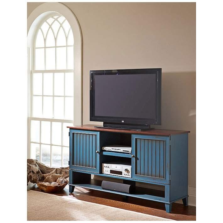 Ellington 60 Wide Vibrant Blue 2 Door Wood Deluxe Tv Stand 21j82 Lamps Plus