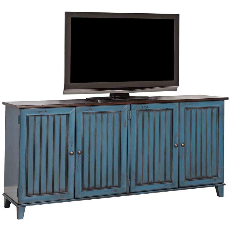 "Ellington 72 1/4"" Wide Vibrant Blue 4-Door Wood TV Stand"